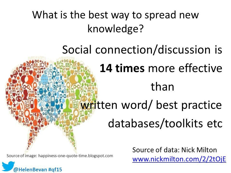 What is the best way to spread new knowledge