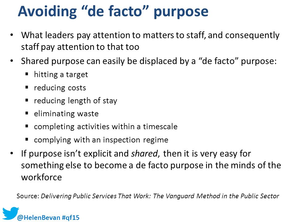 Avoiding de facto purpose