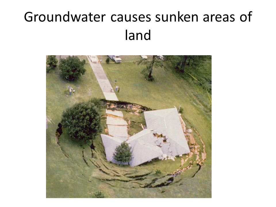 Groundwater causes sunken areas of land