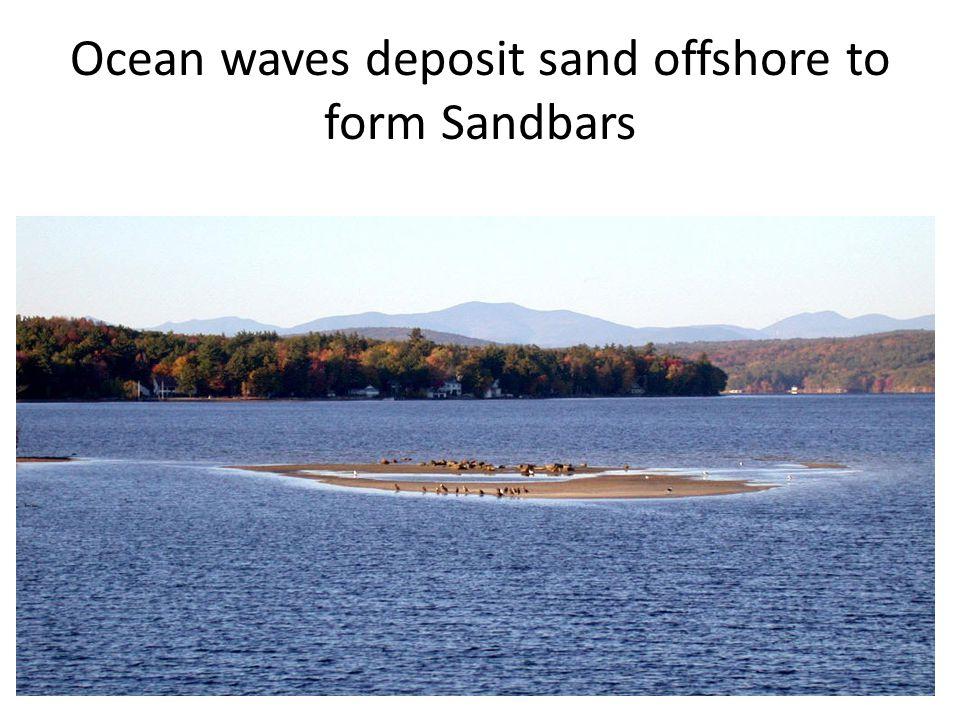 Ocean waves deposit sand offshore to form Sandbars