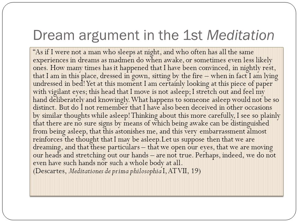 Dream argument in the 1st Meditation
