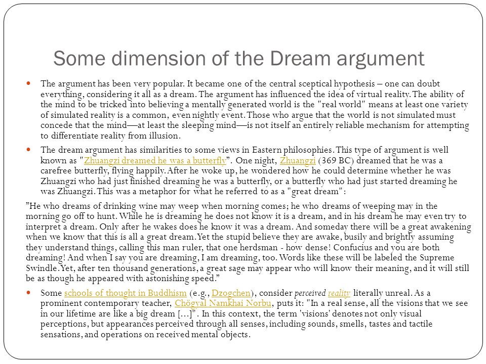 Some dimension of the Dream argument