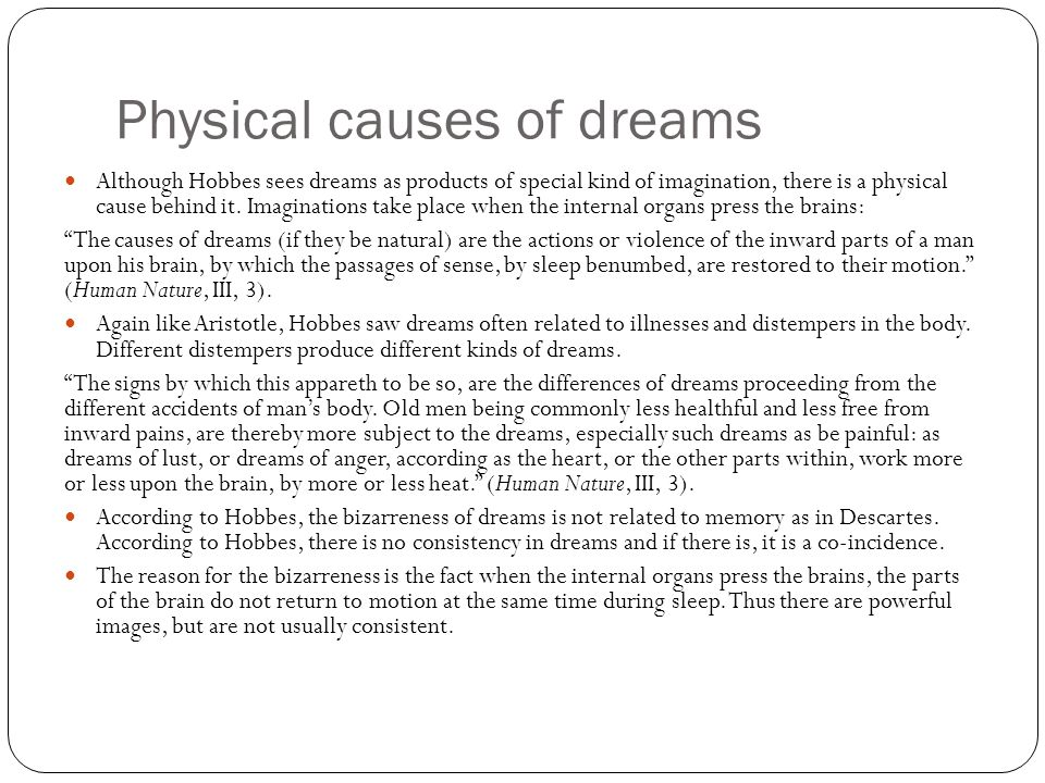 Physical causes of dreams