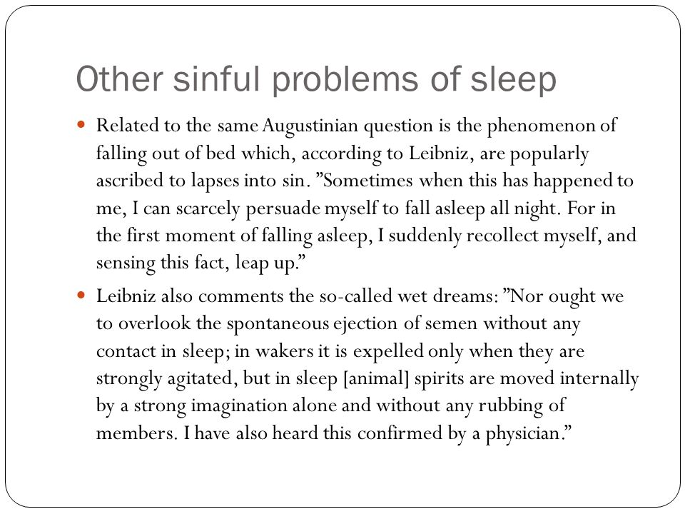 Other sinful problems of sleep
