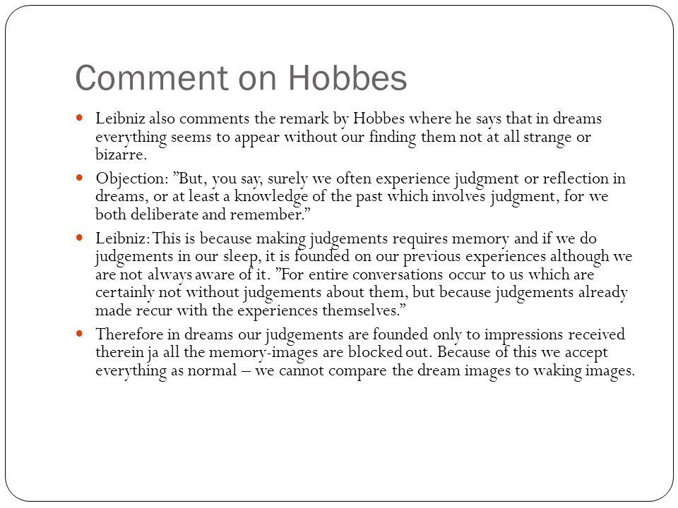 Comment on Hobbes