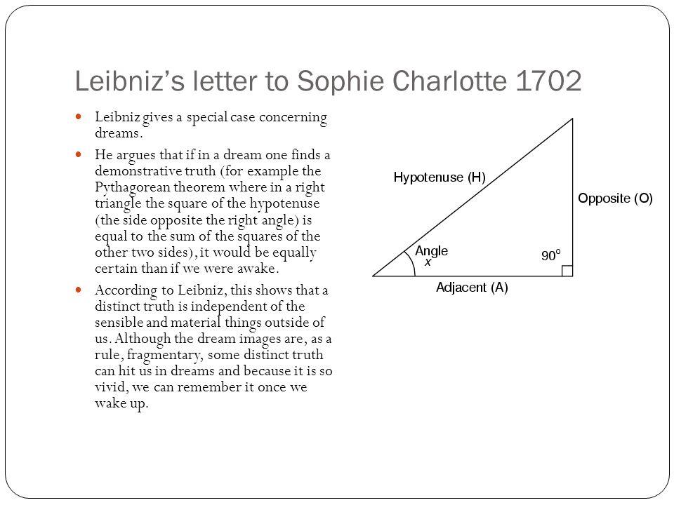 Leibniz's letter to Sophie Charlotte 1702