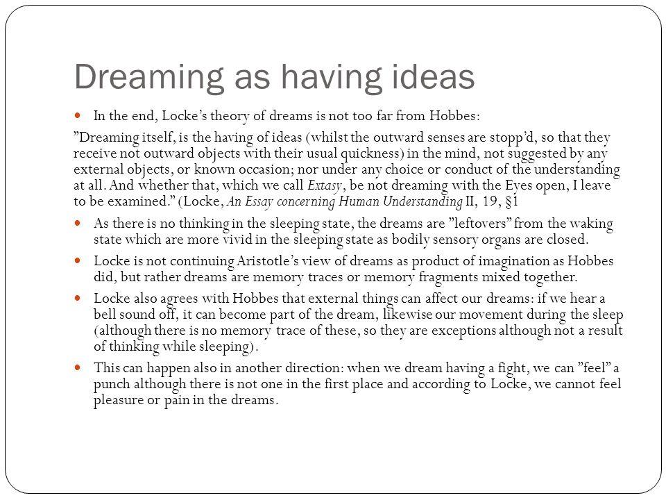 Dreaming as having ideas