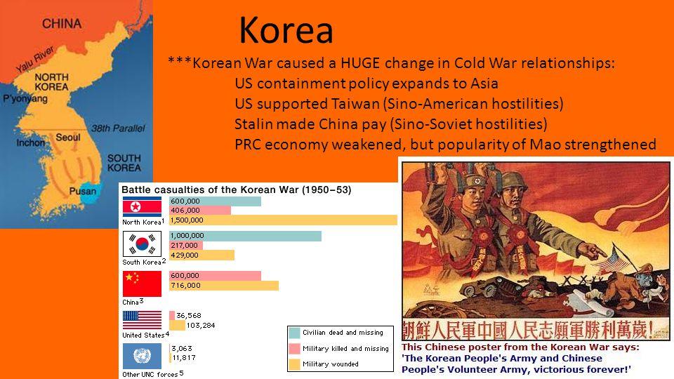 Korea ***Korean War caused a HUGE change in Cold War relationships: