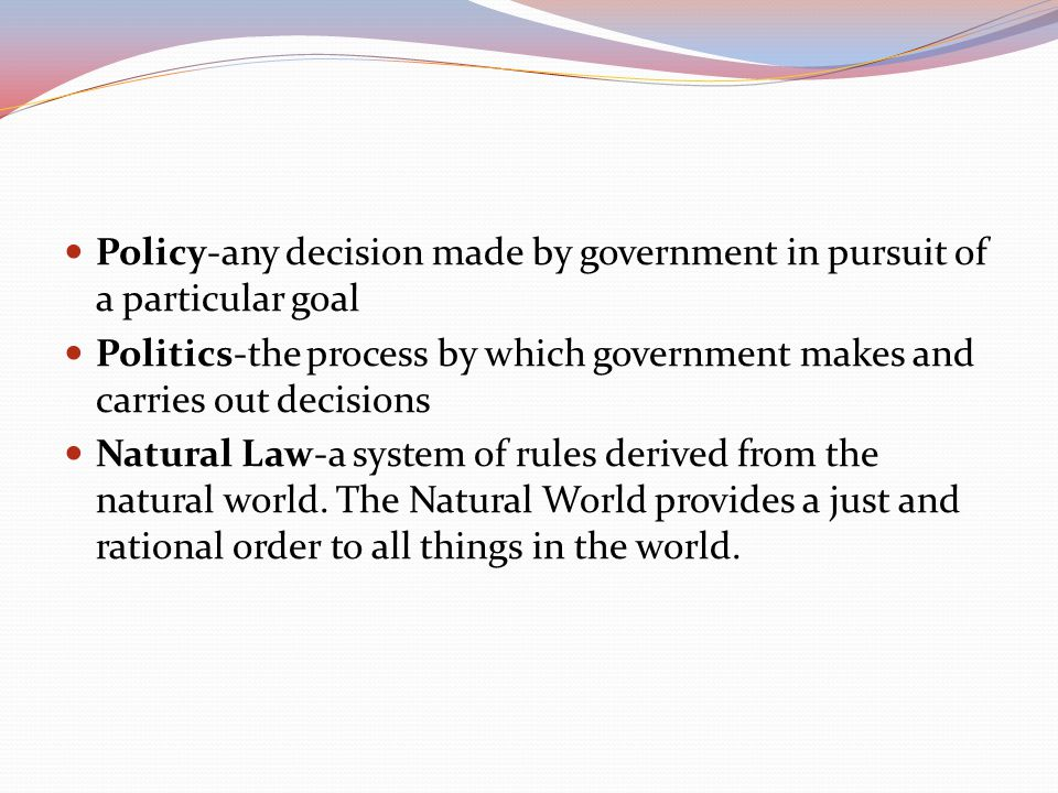 Policy-any decision made by government in pursuit of a particular goal