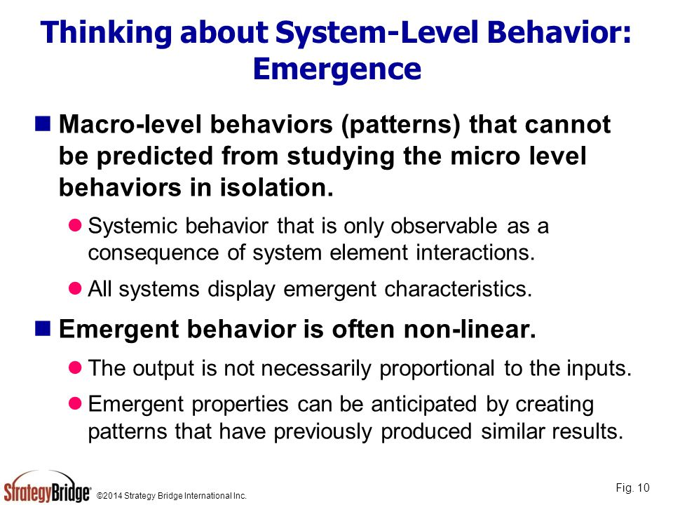 Thinking about System-Level Behavior: Emergence