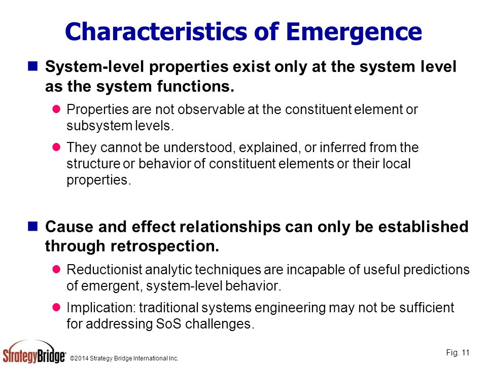 Characteristics of Emergence