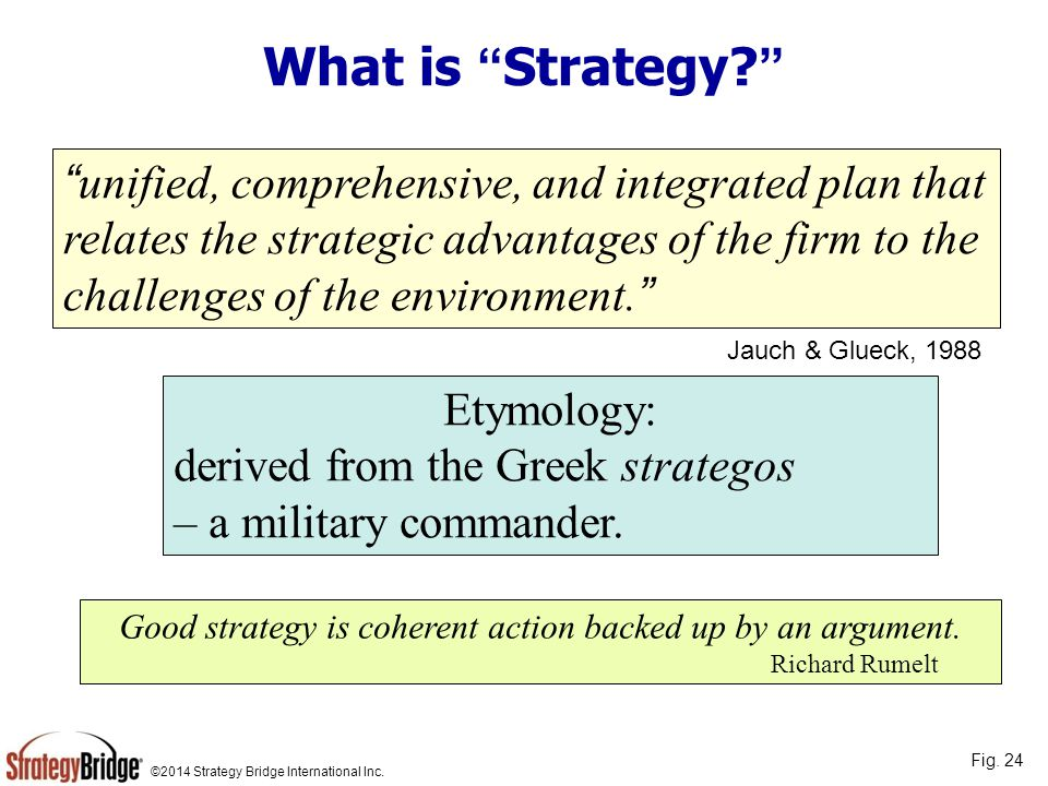 Good strategy is coherent action backed up by an argument.