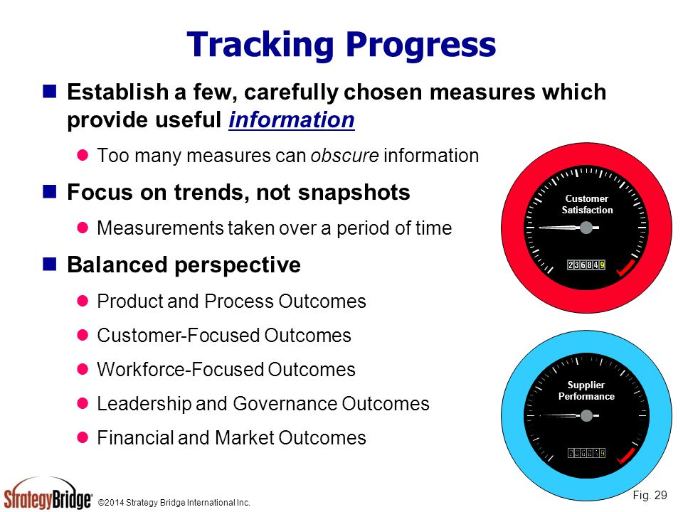 Tracking Progress Establish a few, carefully chosen measures which provide useful information. Too many measures can obscure information.