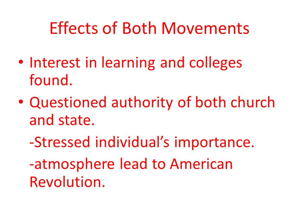 Effects of Both Movements