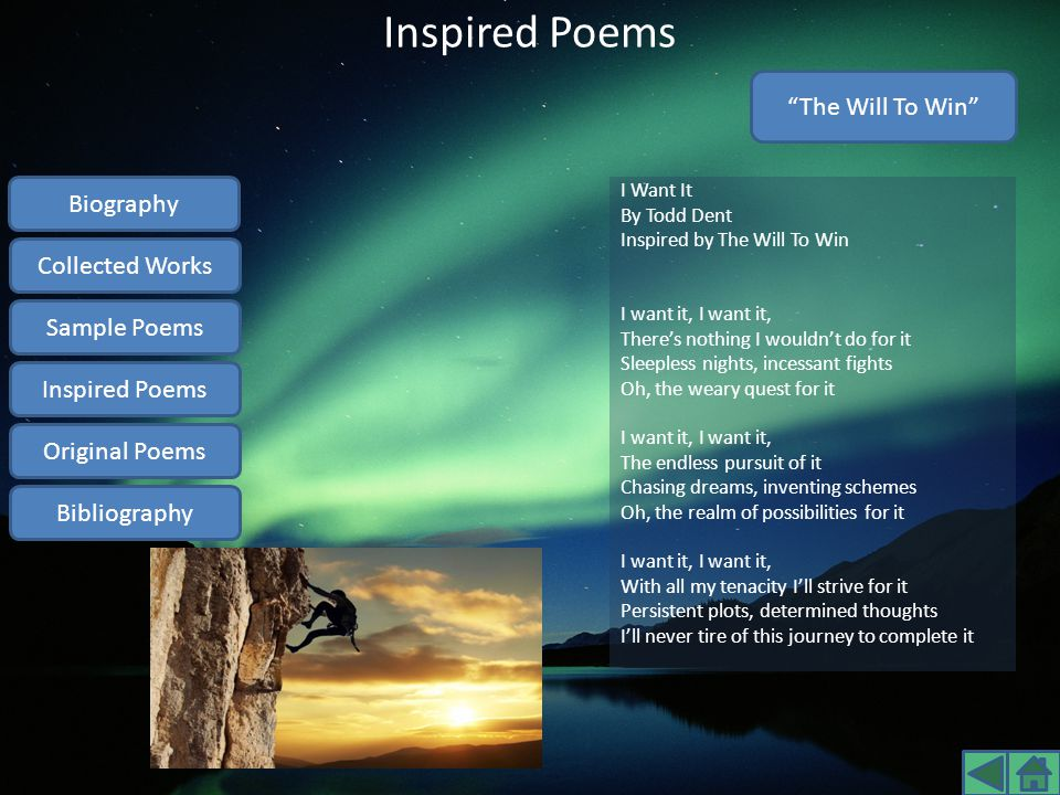 Inspired Poems The Will To Win Biography Collected Works