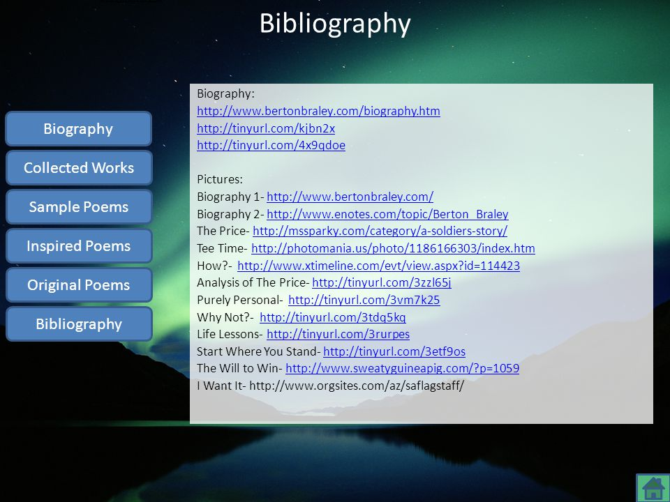 Bibliography Biography Collected Works Sample Poems Inspired Poems