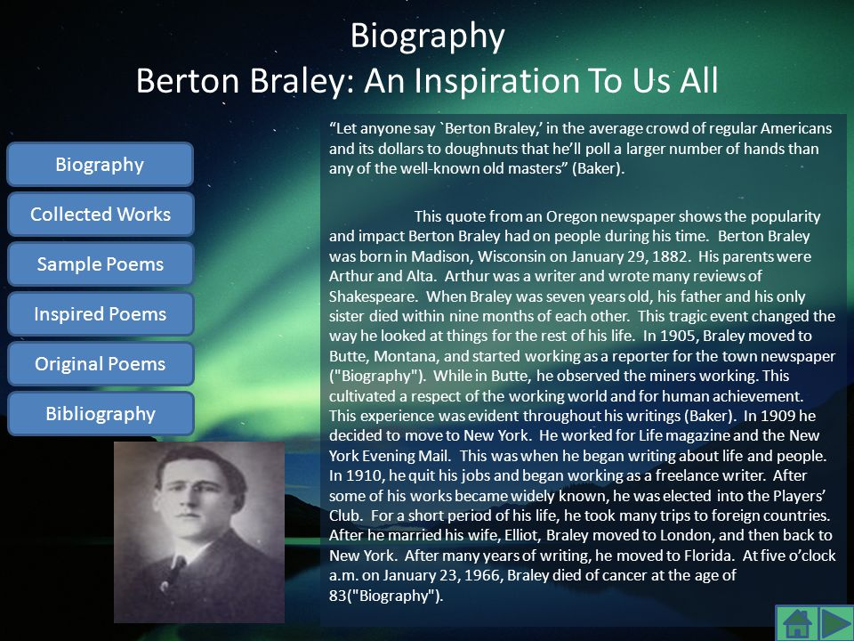 Biography Berton Braley: An Inspiration To Us All