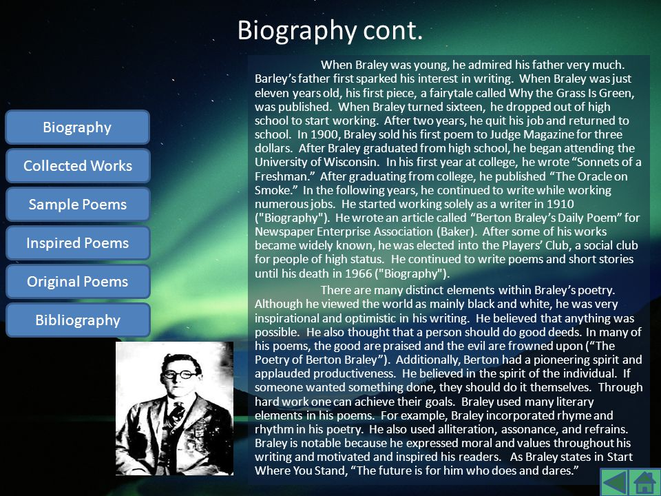 Biography cont. Biography Collected Works Sample Poems Inspired Poems