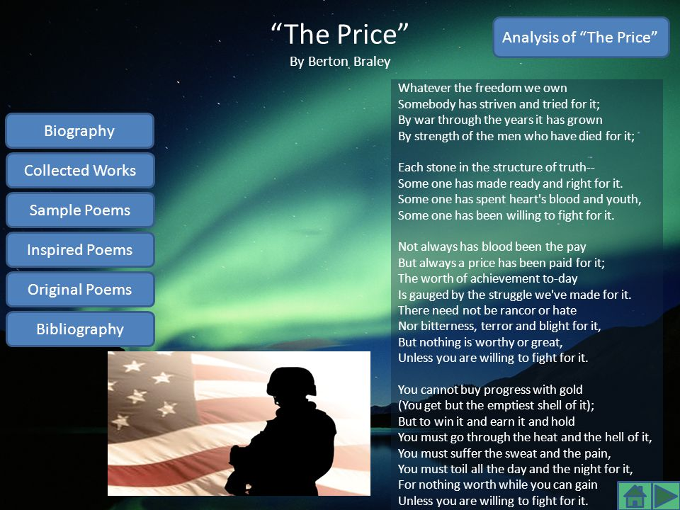 The Price By Berton Braley
