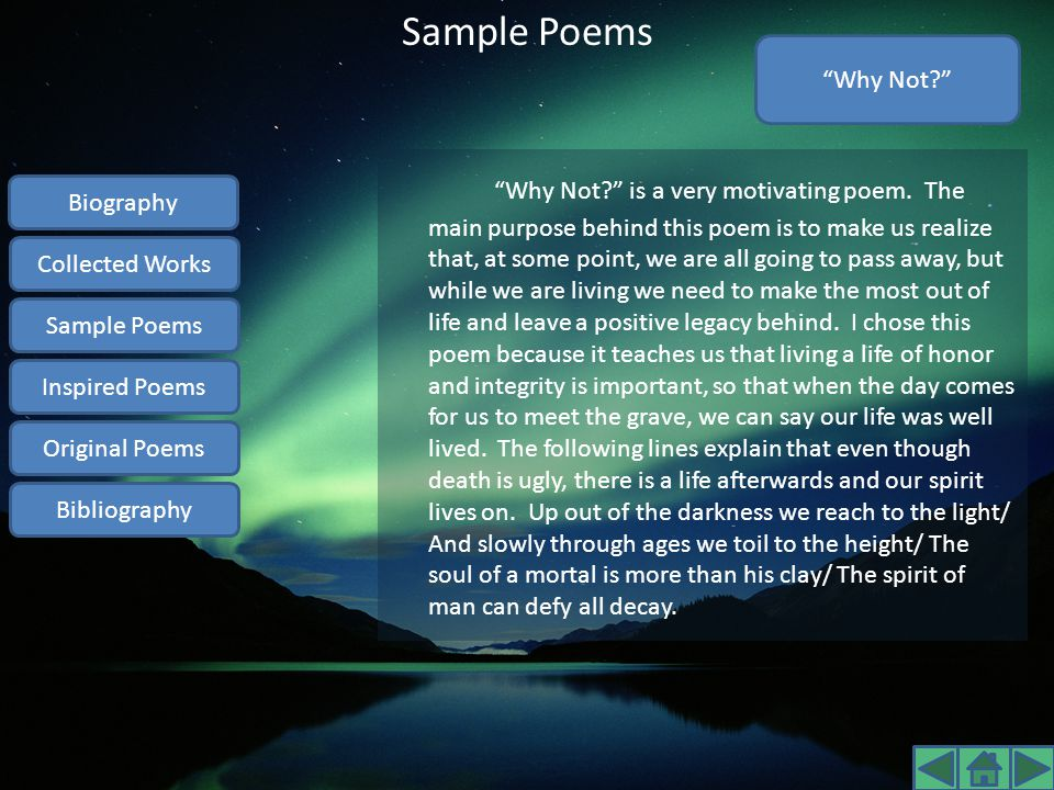 Sample Poems Why Not