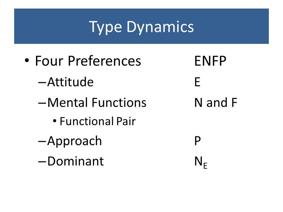 Type Dynamics Four Preferences ENFP Attitude E