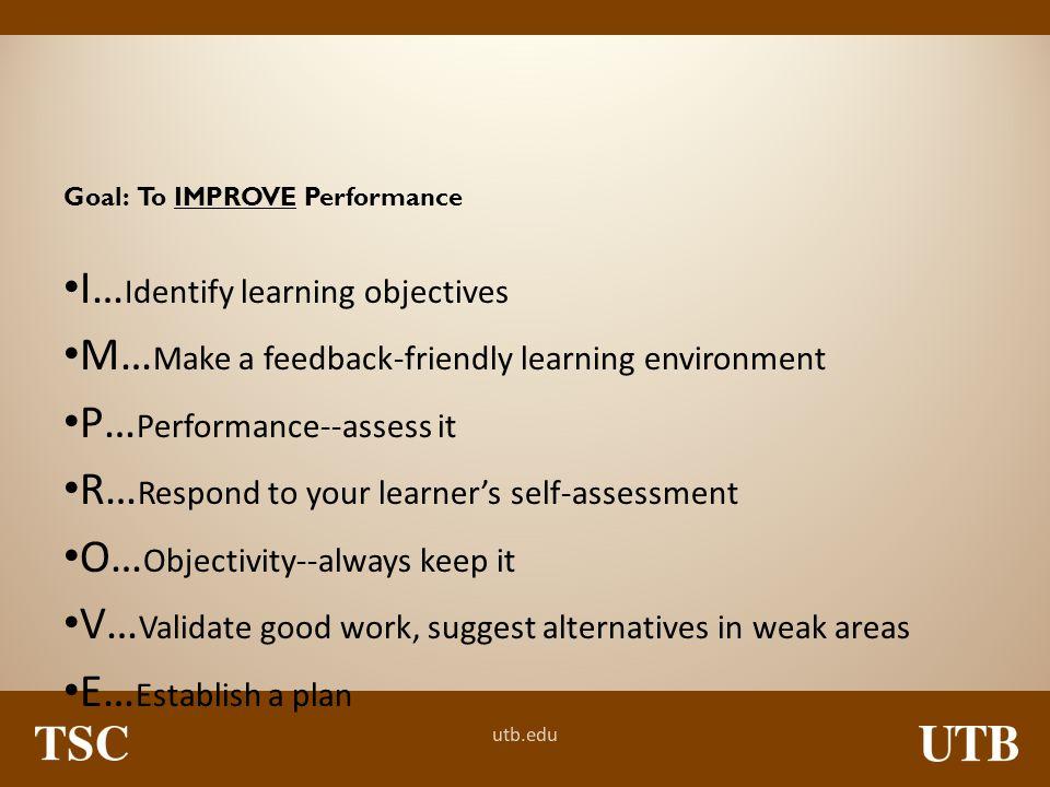 I…Identify learning objectives