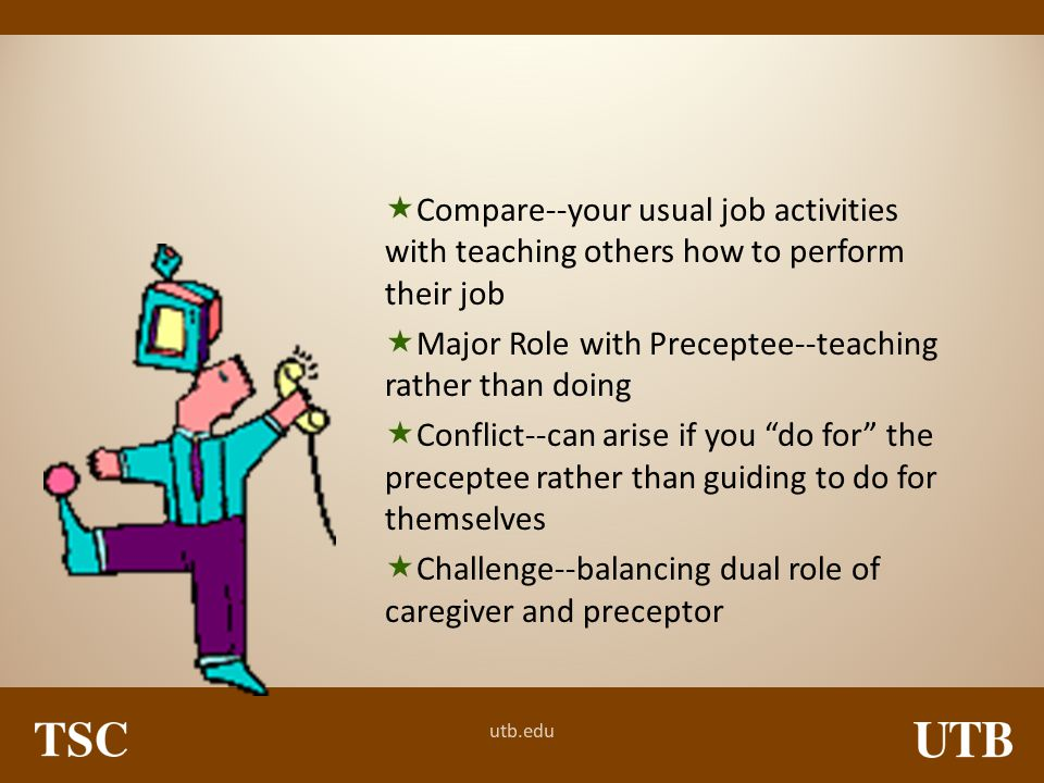 Compare--your usual job activities with teaching others how to perform their job