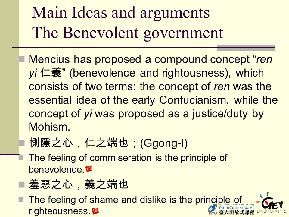 Main Ideas and arguments The Benevolent government