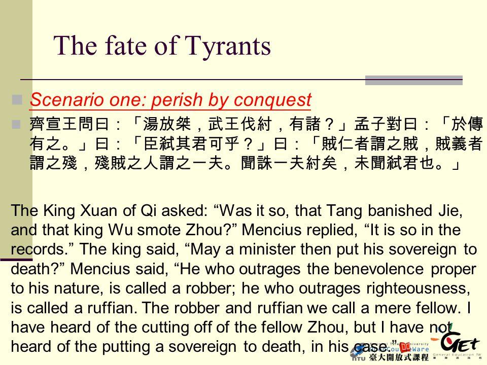 The fate of Tyrants Scenario one: perish by conquest