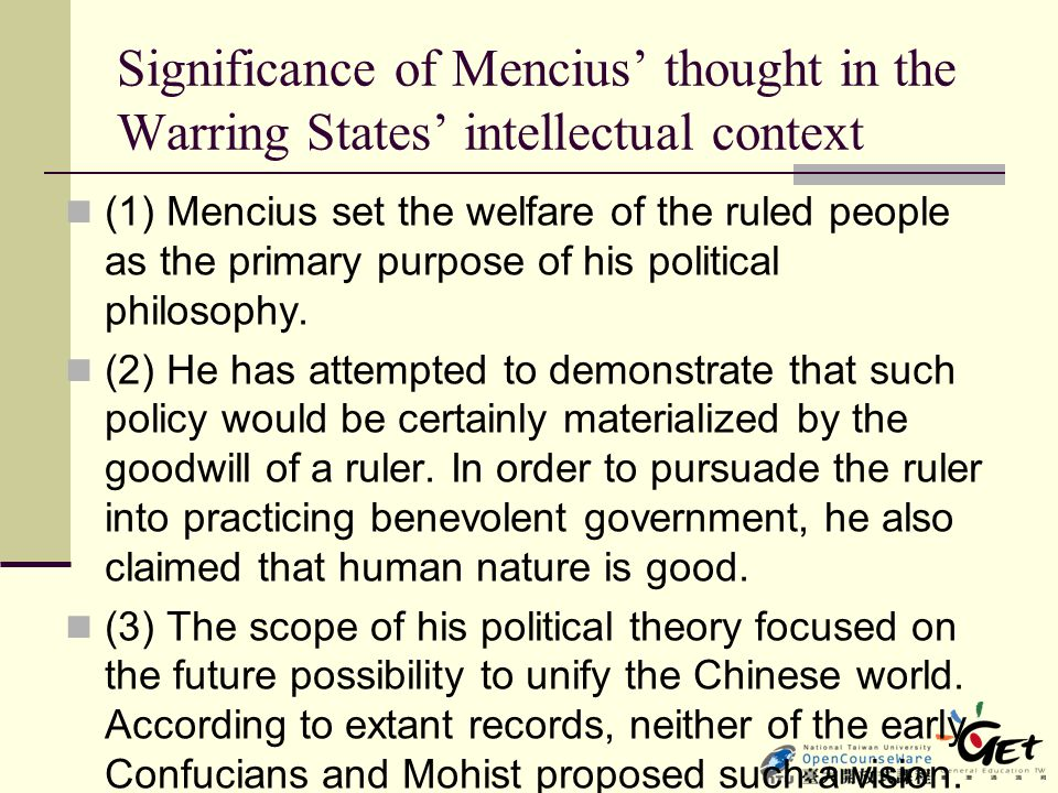 Significance of Mencius' thought in the Warring States' intellectual context