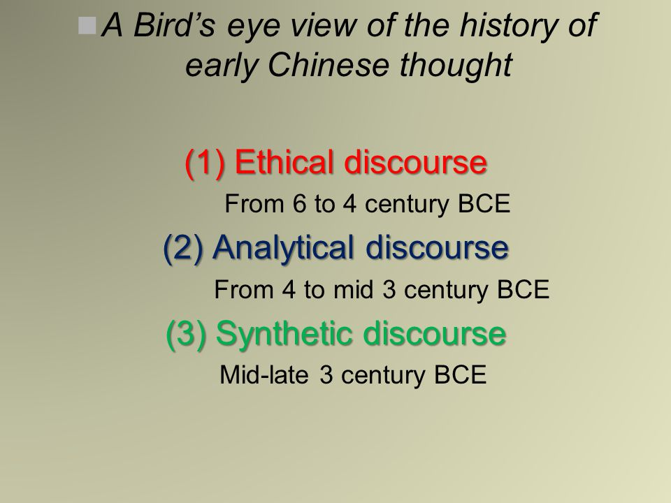 A Bird's eye view of the history of early Chinese thought