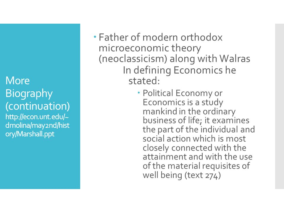 Father of modern orthodox microeconomic theory (neoclassicism) along with Walras
