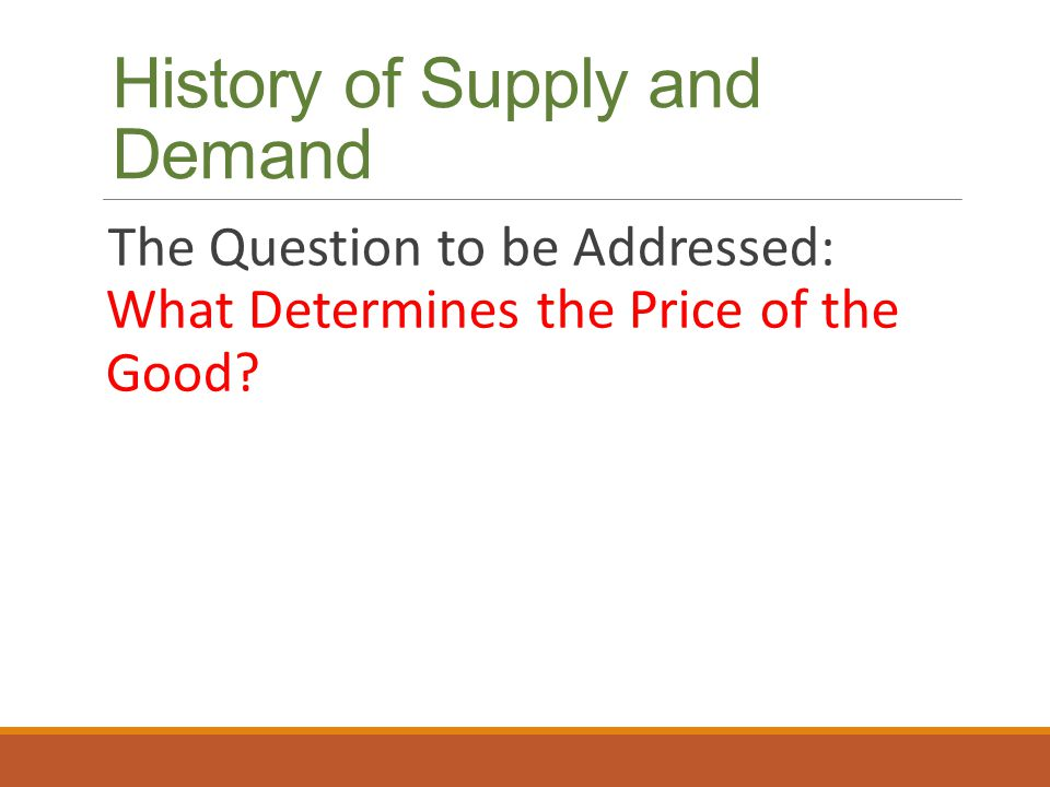 History of Supply and Demand