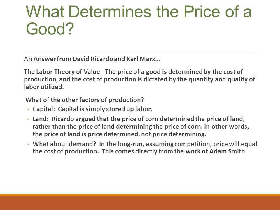 What Determines the Price of a Good
