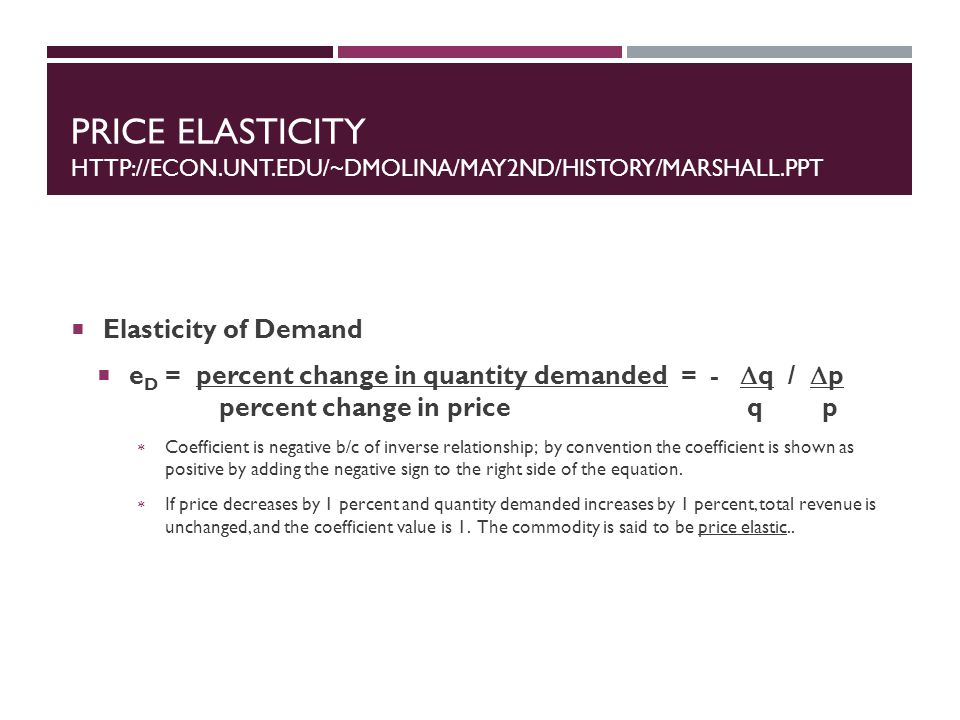 Price Elasticity http://econ.unt.edu/~dmolina/may2nd/history/Marshall.ppt