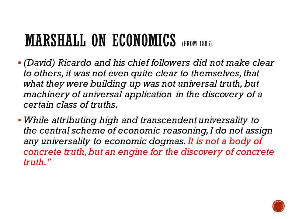 Marshall on Economics (from 1885)