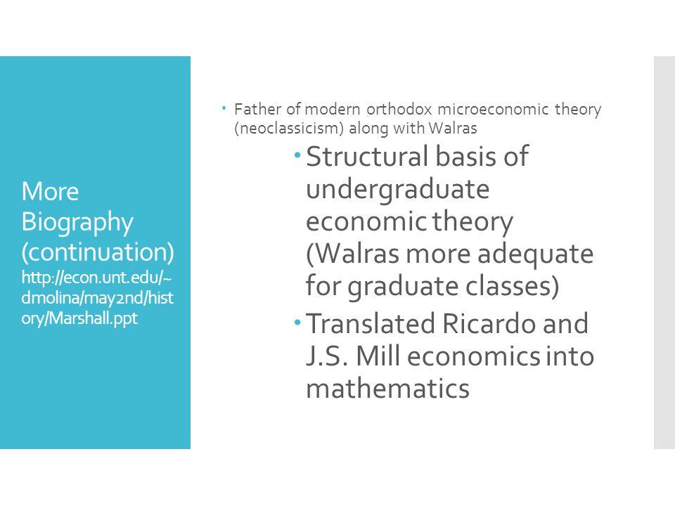 Translated Ricardo and J.S. Mill economics into mathematics