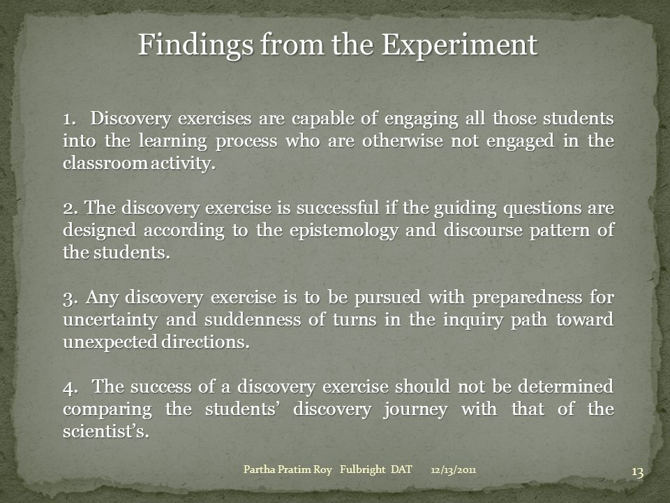 Findings from the Experiment