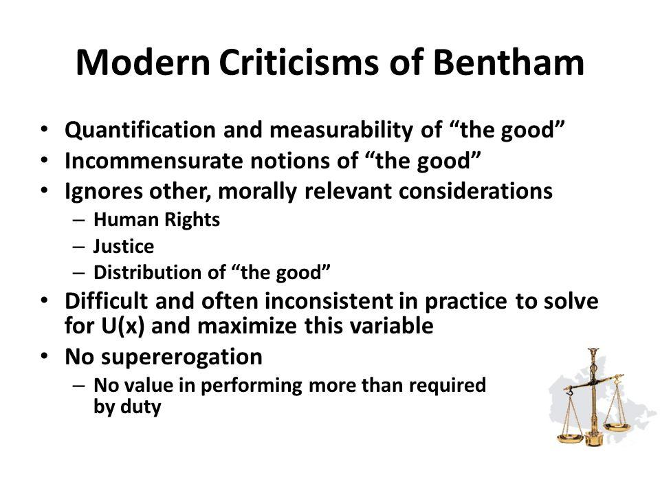 Modern Criticisms of Bentham