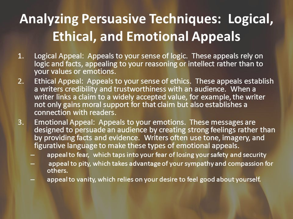 Analyzing Persuasive Techniques: Logical, Ethical, and Emotional Appeals