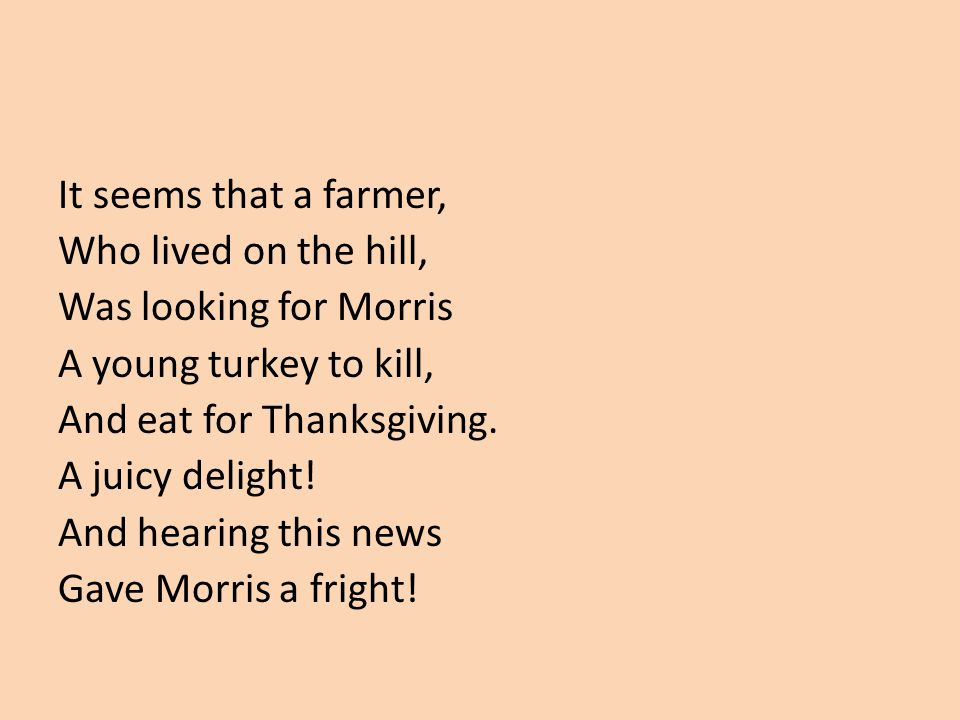 It seems that a farmer, Who lived on the hill, Was looking for Morris. A young turkey to kill, And eat for Thanksgiving.
