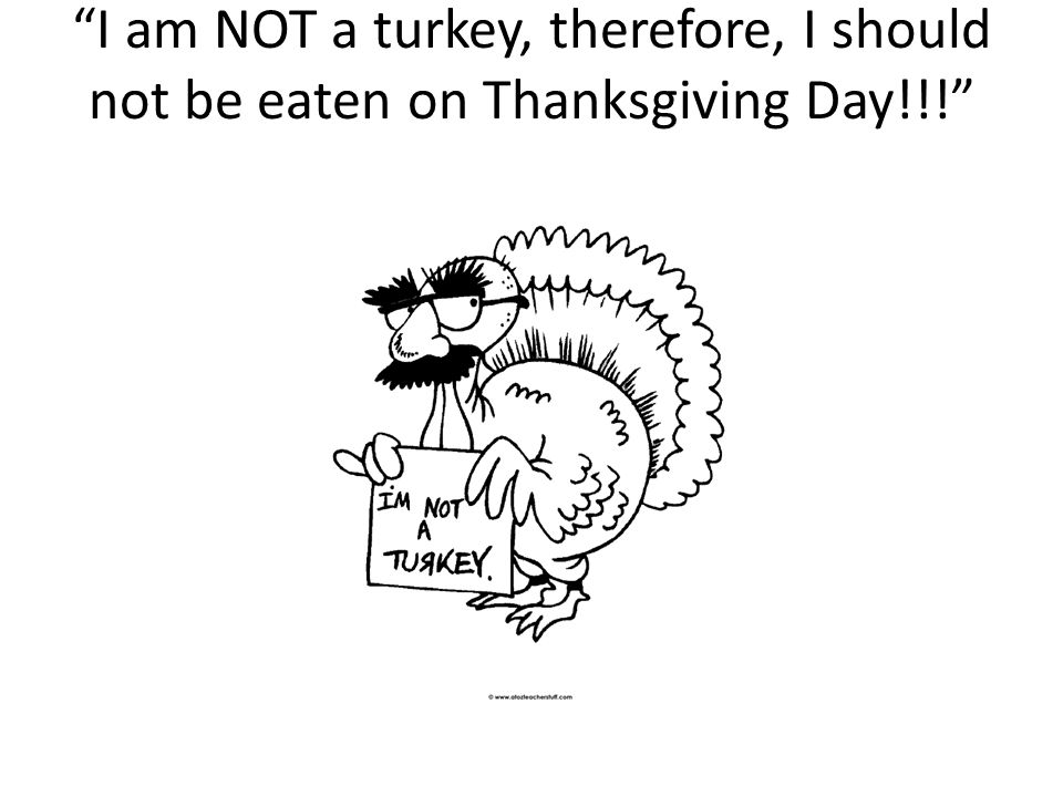 I am NOT a turkey, therefore, I should not be eaten on Thanksgiving Day!!!