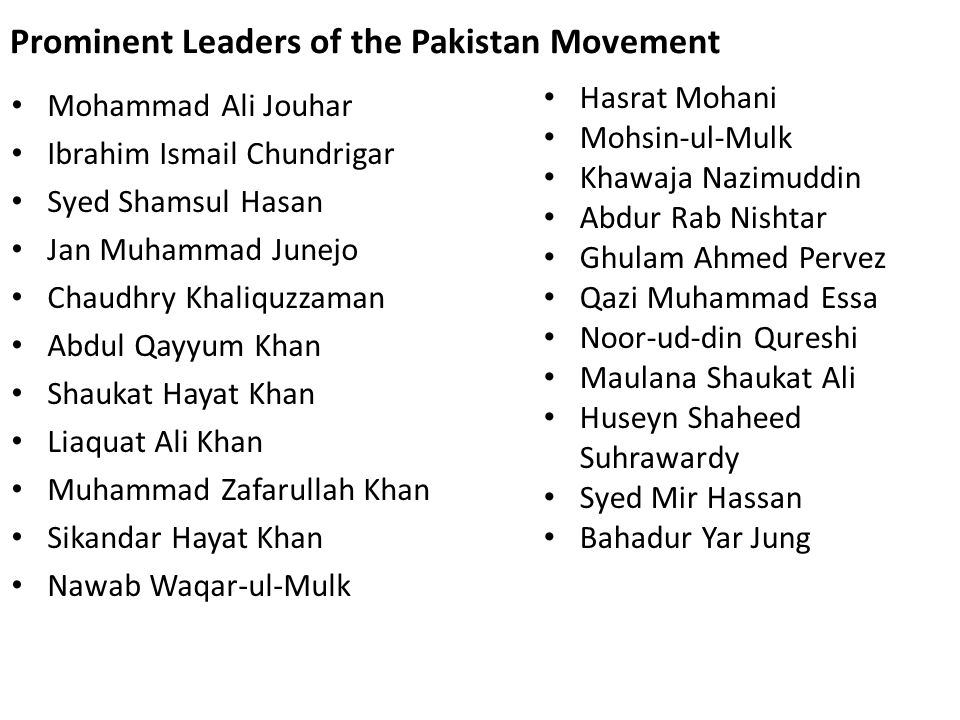 Prominent Leaders of the Pakistan Movement