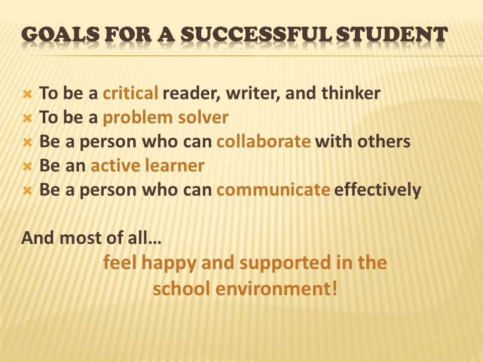 Goals for a Successful Student