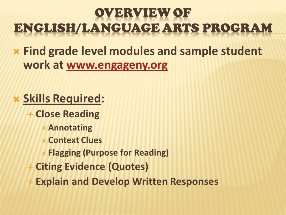 Overview of English/Language Arts program