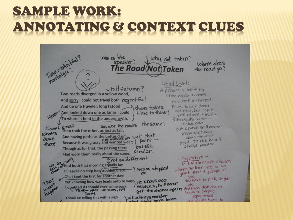 Sample Work: Annotating & Context clues