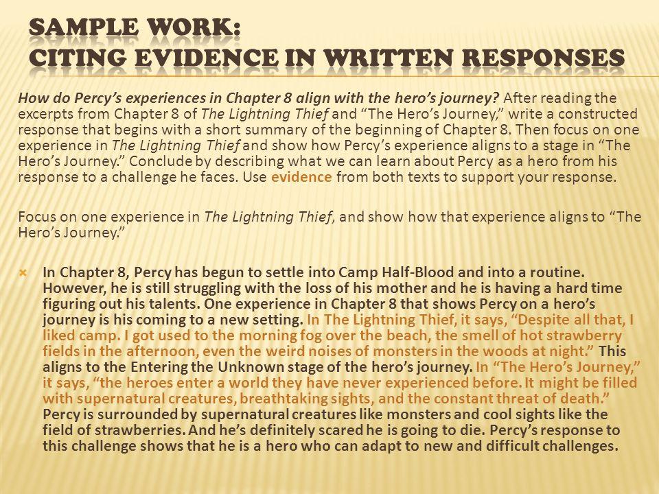 Sample Work: citing evidence in written responses