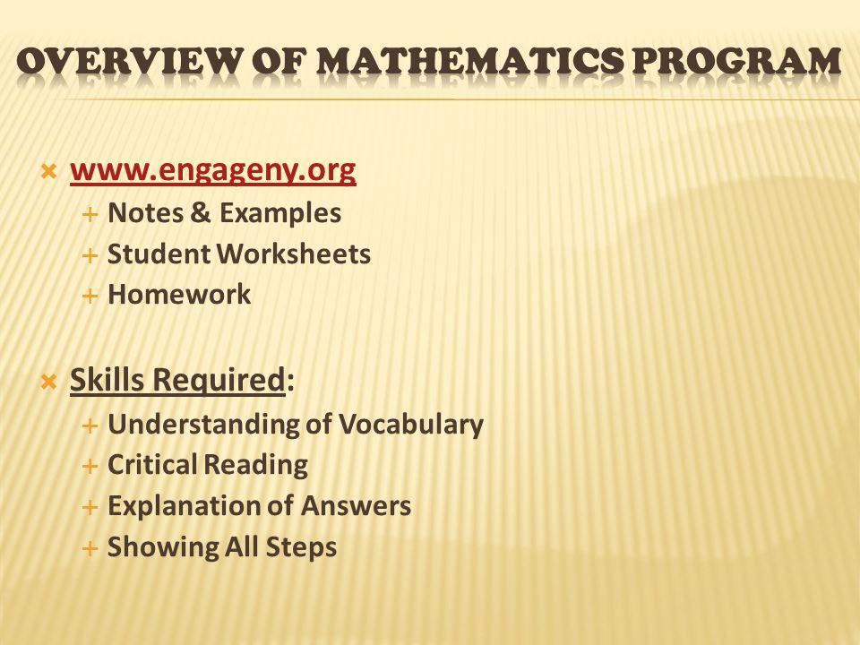 Overview of Mathematics program