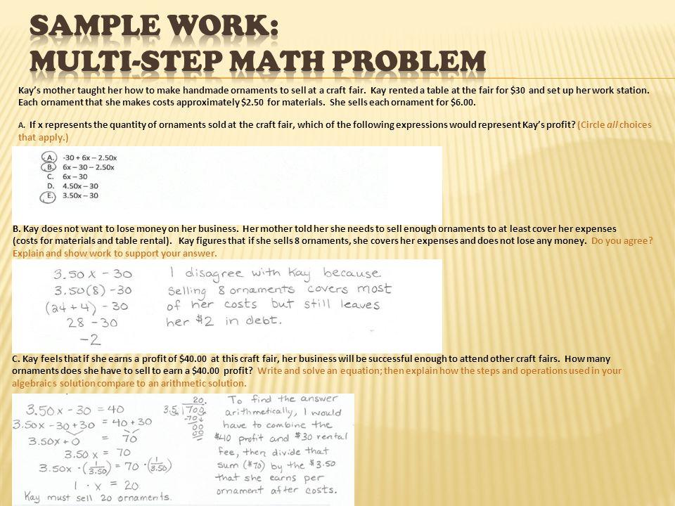 Sample Work: multi-step math problem