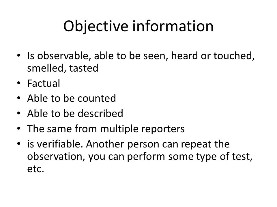 Objective information